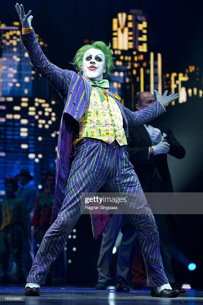 The Joker played by actor Mark Frost of Batman Live performs at Oslo Spektrum on November 11, 2011 in Oslo, Norway.