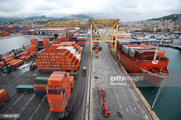 The Jolly Grigio dry cargo ship operated by Ignazio Messina C SpA sits moored at the company's freight terminal at Genoa port in Genoa Italy on...