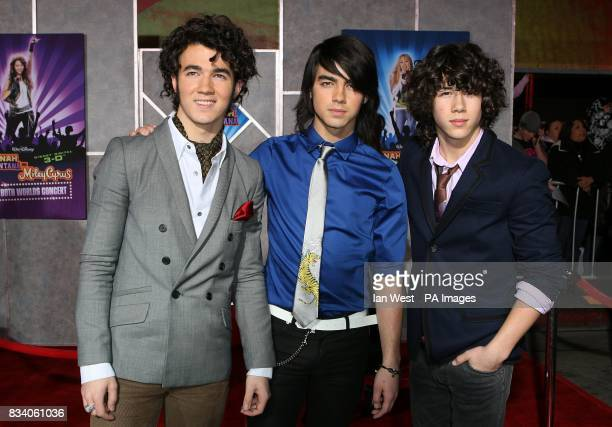 The Jonas Brothers arrive at the premiere for new film Hannah Montana and Miley CyrusBest of Both Worlds Concert at the El Capitan Theatre Los Angeles