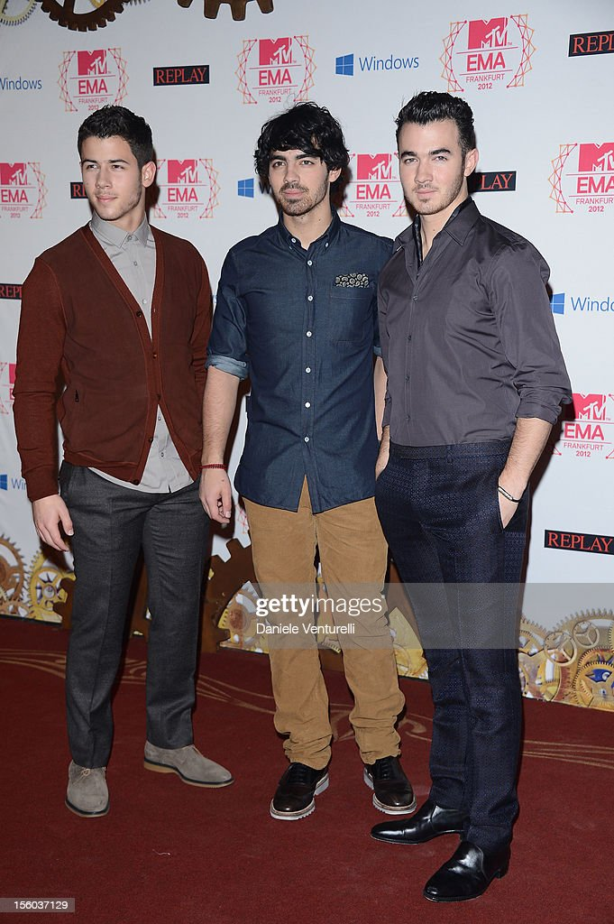 The Jonas Brothers attends the MTV EMA's 2012 at Festhalle Frankfurt on November 11, 2012 in Frankfurt am Main, Germany.