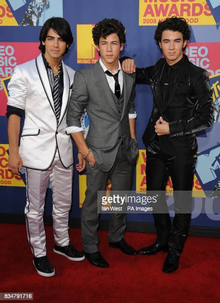 The Jonus Brothers arrives for the MTV Video Music Awards 2008 at Paramount Studios Hollywood Los Angeles California