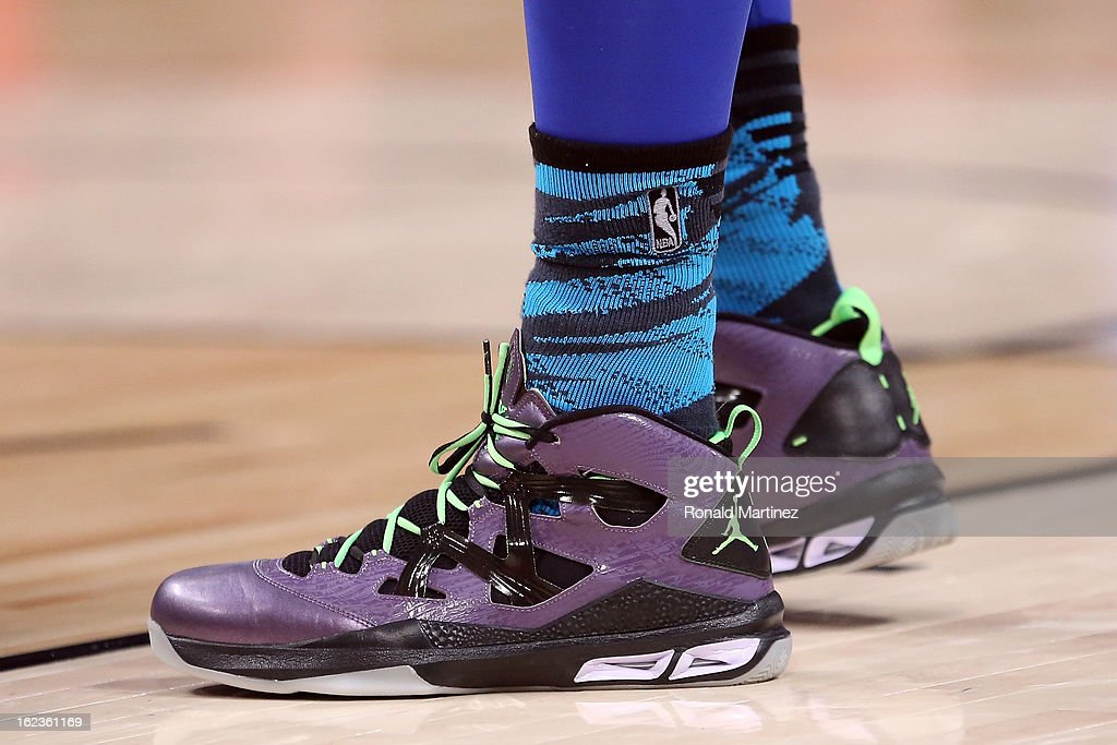 The Jordan Brand NIKE shoes worn by Carmelo Anthony #7 of the New York Knicks and the Eastern Conference are seen during the 2013 NBA All-Star game at the Toyota Center on February 17, 2013 in Houston, Texas.