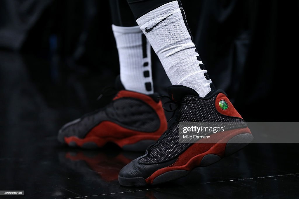 The Jordan Brand shoes worn by Kevin Ware of the Georgia State Panthers are seen before taking on the Baylor Bears during the second round of the...