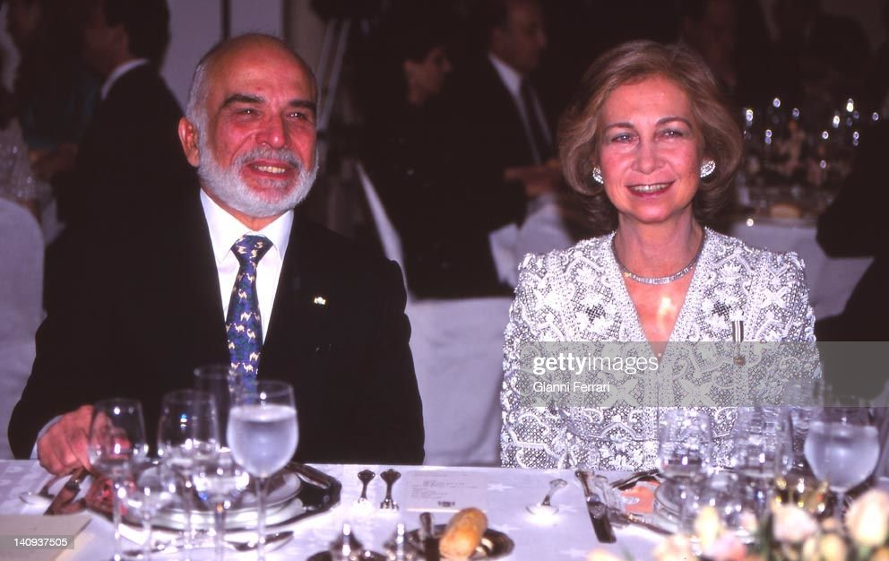 The Jordanian <a gi-track='captionPersonalityLinkClicked' href=/galleries/search?phrase=King+Hussein&family=editorial&specificpeople=93663 ng-click='$event.stopPropagation()'>King Hussein</a> and the Spanish Queen Sofia at a gala dinner in the official visit of the Spanish Kings, 1994, Amman, Jordan.