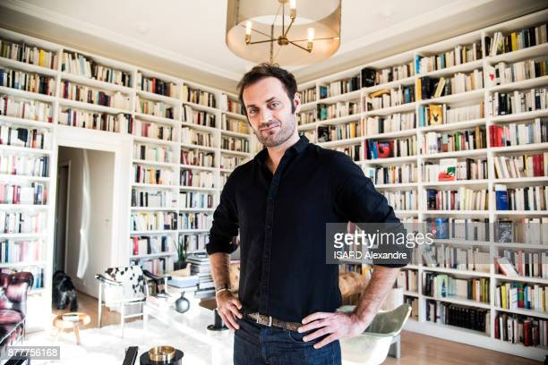 the journalist and radio host Augustin Trapenard is photographed for Paris Match at home in Paris on October 27 2017