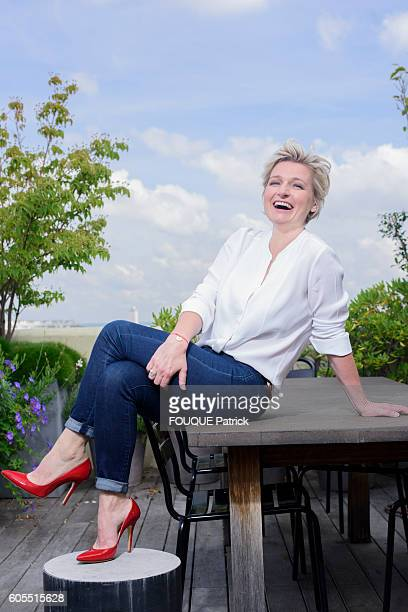 the journalist and tv presenter AnneElisabeth Lemoine poses on July 7 2016