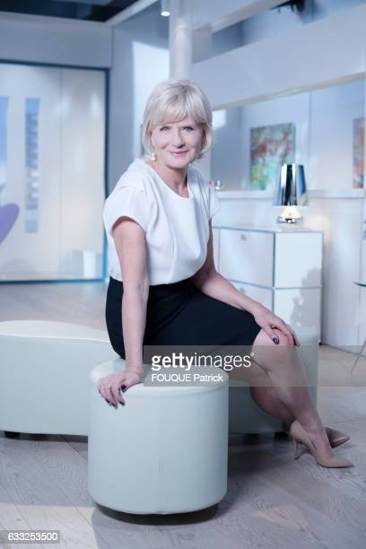 The journalist Catherine Ceylac poses for Paris Match on may 03 2016 in Paris France