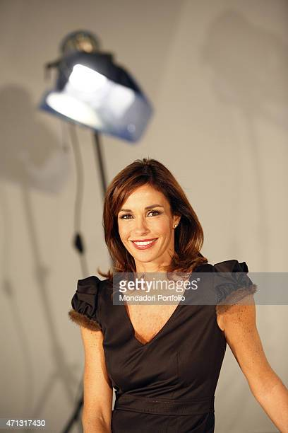 The journalist Cristina Parodi posing for a photo shooting in the TG5 studios Rome Italy 16th October 2007