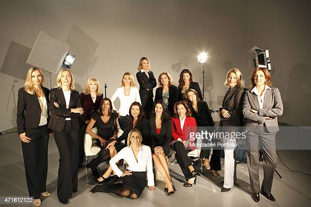 'The journalists Cristina Parodi Cesara Buonamici Monica Gasparini and Elena Guarnieri posing for a photo shooting with the TG5 womens' editorial...