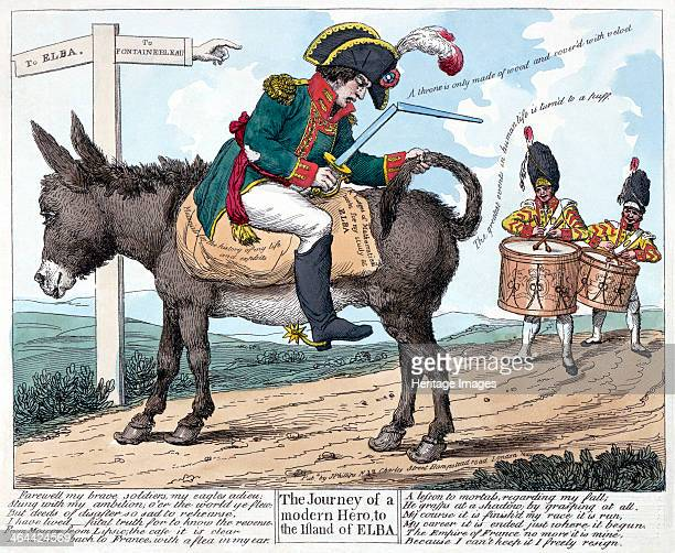 'The Journey of a Modern Hero to the Island of Elba' 1814 Cartoon depicting Napoleon Bonaparte Emperor of the French on his way into his first exile...