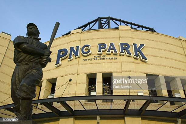 The JP 'Honus' Wagner statue is in front of the PNC Park before the game between the Los Angeles Dodgers and the Pittsburgh Pirates on May 9 2004 in...
