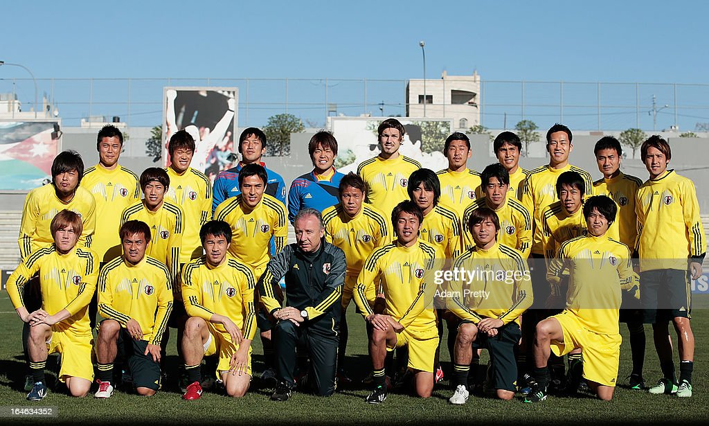 The Jpaanese team pose for a photograph before the training session ahead of the World Cup qualifier against Jordan at King Abdullah International Stadium on March 25, 2013 in Amman, Jordan.