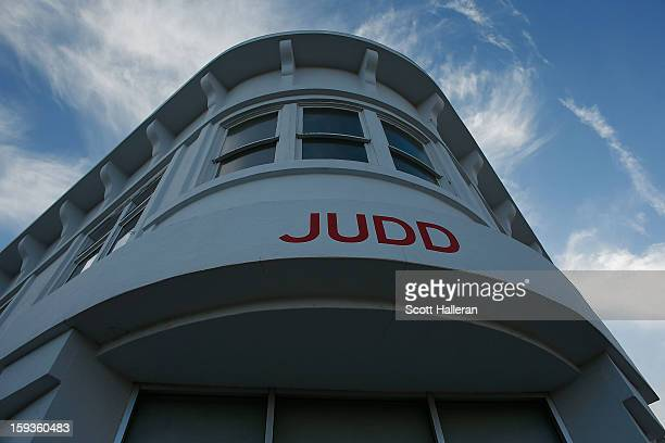 The Judd Foundation building is seen on Highland Avenue on December 25 2012 in Marfa Texas Situated in West Texas this town of just over 2000...
