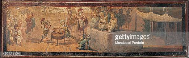 'The Judgement of Solomon by unknown artist 5579 1st Century AD ripped fresco 55 x 164 cm Italy Campania Naples National Archaeological Museum Room...