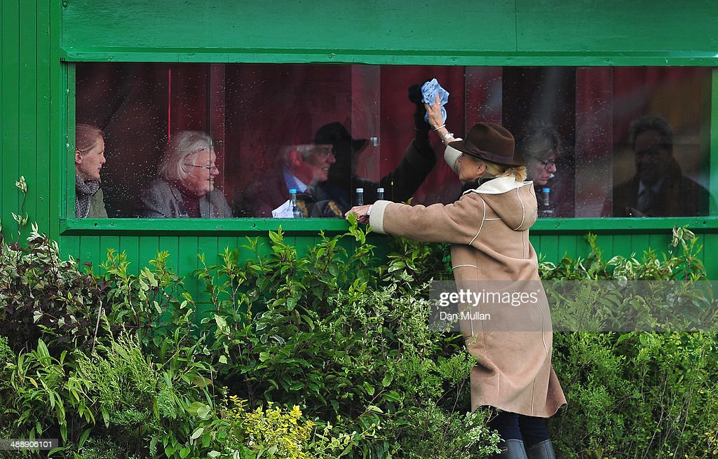 The judges cabin has the windows cleaned ahead of the dressage on day three of the Badminton Horse Trials on May 9, 2014 in Badminton, England.