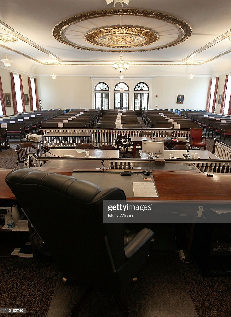 The Judges chair sits empty inside the courtroom of the Centre County Courthouse on June 17 2012 in Bellefonte Pennsylvania This week the defense...