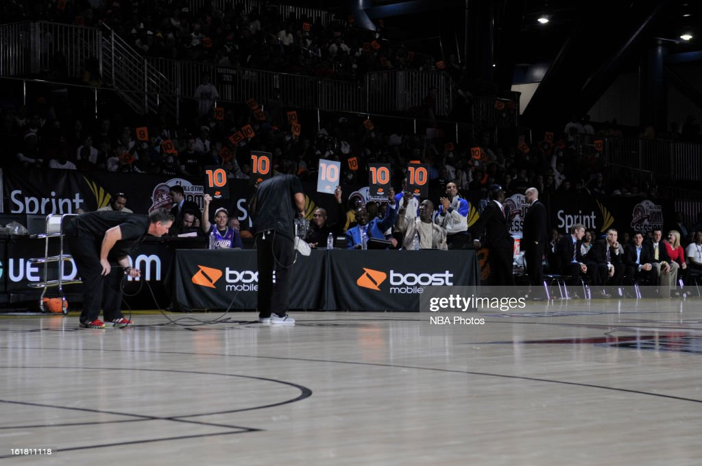 The judges flash 'ten' cards during the NBA D-League Dream Factory presented by Boost Mobile in Sprint Arena at Jam Session during NBA All Star Weekend on February 16, 2013 at the George R. Brown in Houston, Texas.