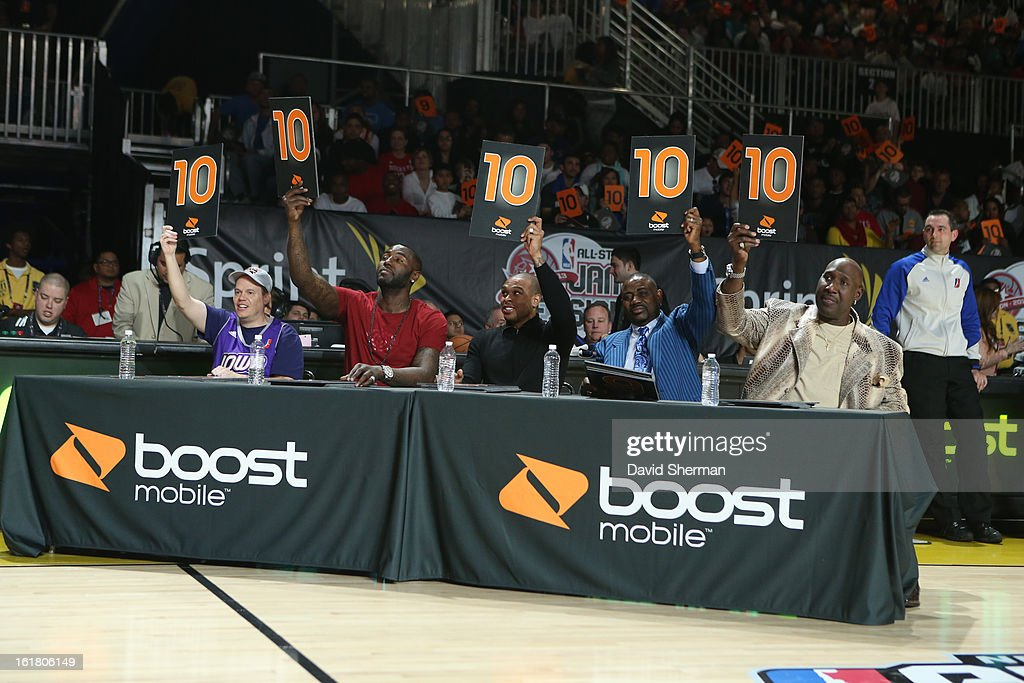 The judges flash ten cards during the slam dunk contest as part of the NBA D-League Dream Factory presented by Boost Mobile in Sprint Arena at Jam Session during NBA All Star Weekend on February 16, 2013 at the George R. Brown in Houston, Texas.