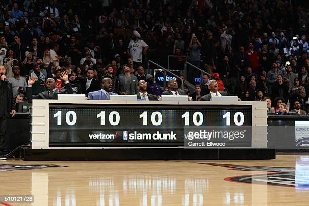 The judges give Aaron Gordon of the Orlando Magic a perfect score during the Verizon Slam Dunk Contest as part of 2016 NBA AllStar Weekend on...