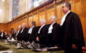 The judges of the International Court of Justice arrive December 16 2003 in The Hague Netherlands A dispute is being dealt with between Mexico and...
