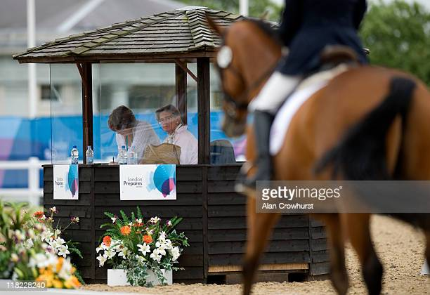 The judges watch the dressage during the Olympic cross country test event in Greenwich Park on July 05 2011 in London England