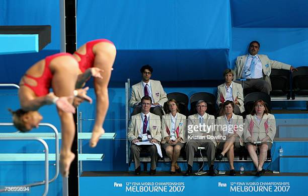 The Judges watch the performance of Ariel C Evans Rittenhouse and Kelci Marie Bryant of the USA during the Women's 3m Synchro Springboard Final at...