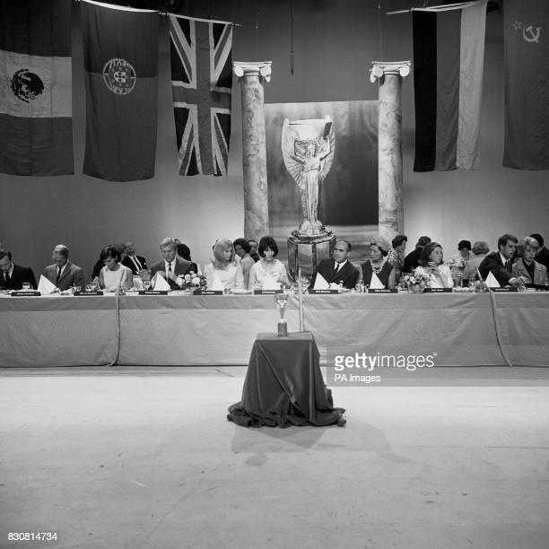 The Jules Rimet Trophy occupies a place of honour on a plinth at a luncheon in honour of England's victorious team at ATV Studios in Boreham Wood The...