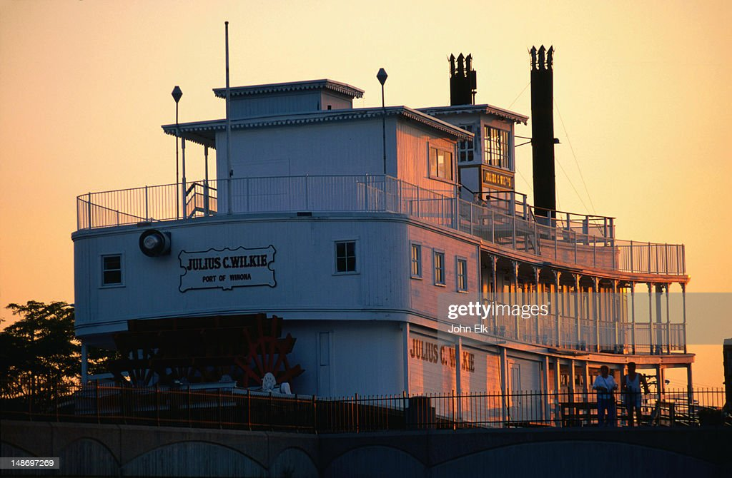 The Julius C Wilkie Steamboat in the port town of Winona : Stock Photo