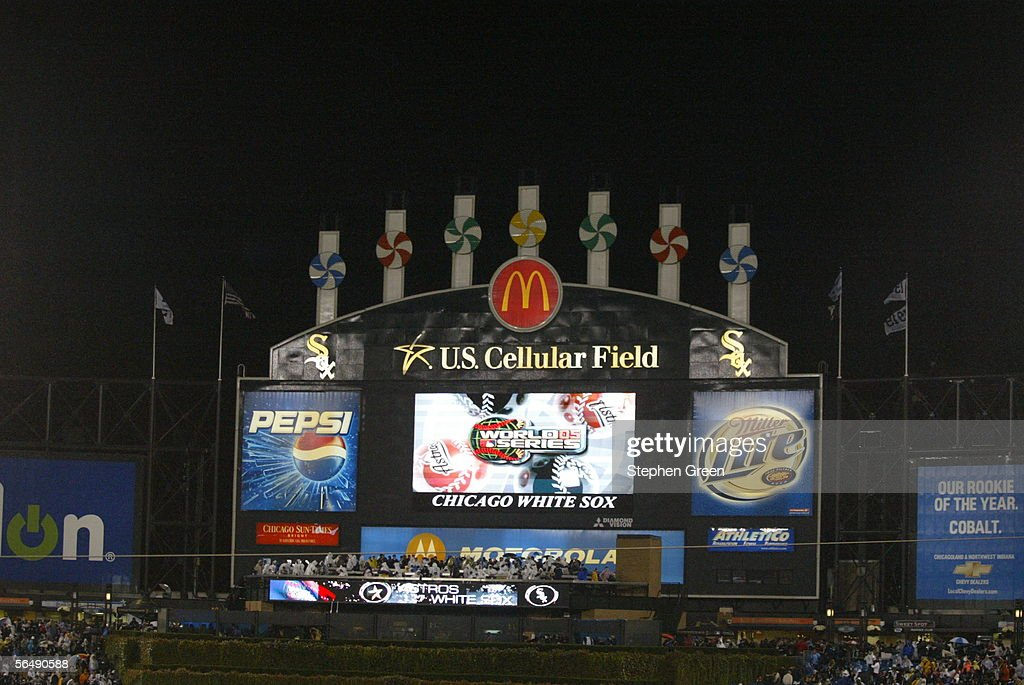 The Jumbotron at U.S. Cellular Field displays a logo before Game Two of the Major League Baseball World Series between the Chicago White Sox and the Houston Astros on October 23, 2005 in Chicago, Illinois. The White Sox beat the Astros 7-6.