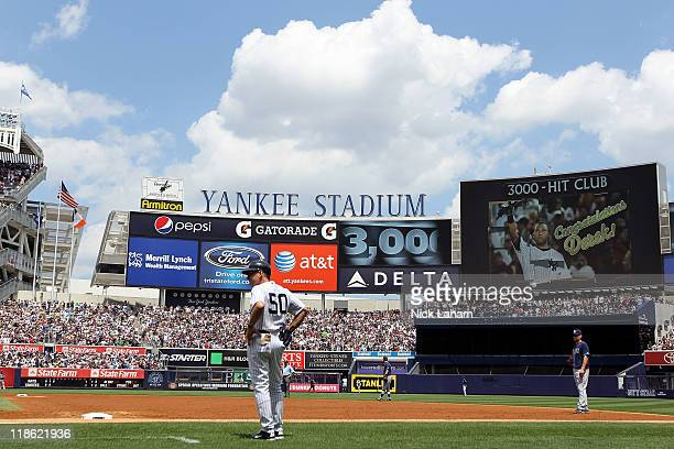 The jumbotron is seen after Derek Jeter of the New York Yankees hit his 3000th hit during a game against the Tampa Bay Rays at Yankee Stadium on July...