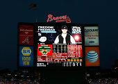 The jumbotron is seen during 'Star Wars Night' as Freddie Freeman of the Atlanta Braves bats against the New York Mets at Turner Field on September...