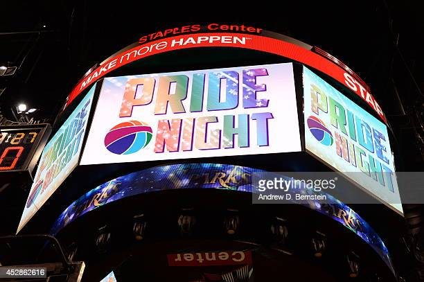 The jumbotron reads 'Pride Night' during the game between the Phoenix Mercury and the Los Angeles Sparks at STAPLES Center on July 24 2014 in Los...