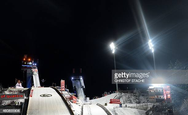 The jump area pictured during the qualification session for the FourHills Ski Jumping tournament in Oberstdorf southern Germany on December 27 2014...