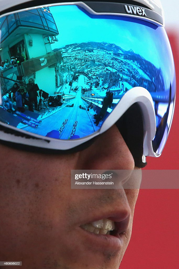 The jump hill is reflected in the ski googles of <a gi-track='captionPersonalityLinkClicked' href=/galleries/search?phrase=Daiki+Ito&family=editorial&specificpeople=722800 ng-click='$event.stopPropagation()'>Daiki Ito</a> of Japan as he prepares for a jump during day 1 of the Four Hills Tournament Ski Jumping event at Schattenberg-Schanze Erdinger Arena on December 27, 2014 in Oberstdorf, Germany.