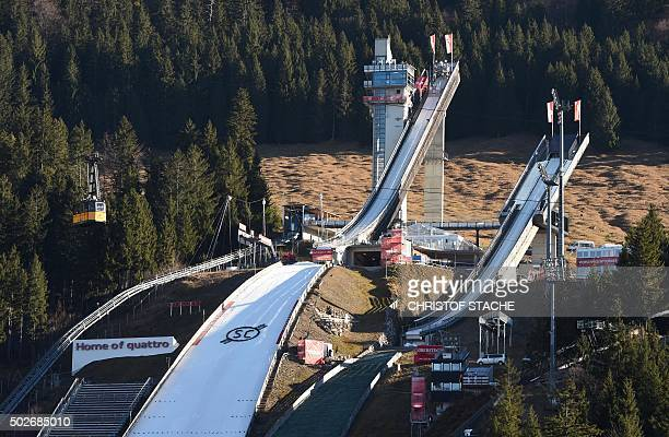 The jumping area of Oberstdorf southern Germany is pictured ahead the start of the qualification for the FourHills Ski Jumping tournament on December...