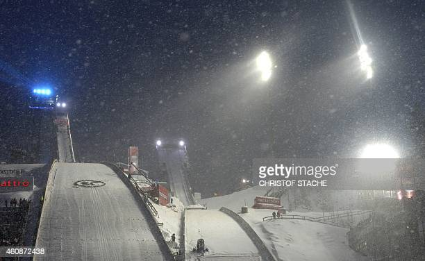 The jumping hill area is seen during the first FourHills Ski jumping tournament in Oberstdorf southern Germany on December 28 2014 The event was...