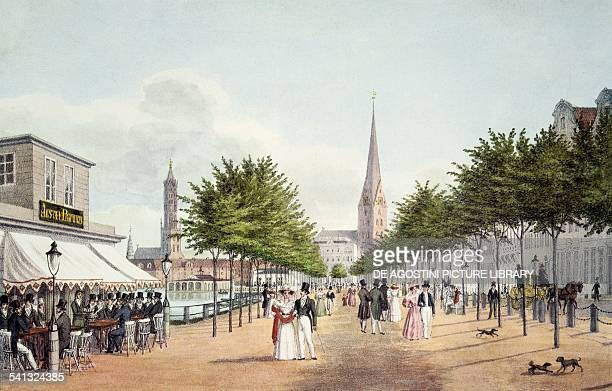 The Jungfernstieg in Hamburg in 1830 Germany 19th century