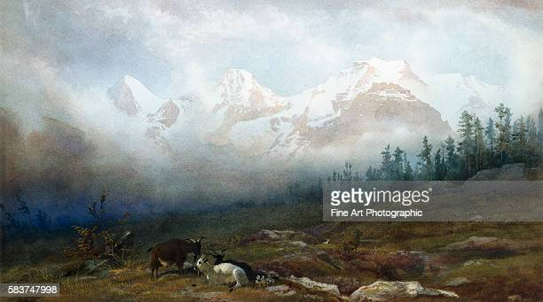 The Jungfrau Monk and Eiger from Murren by Thomas George Cooper