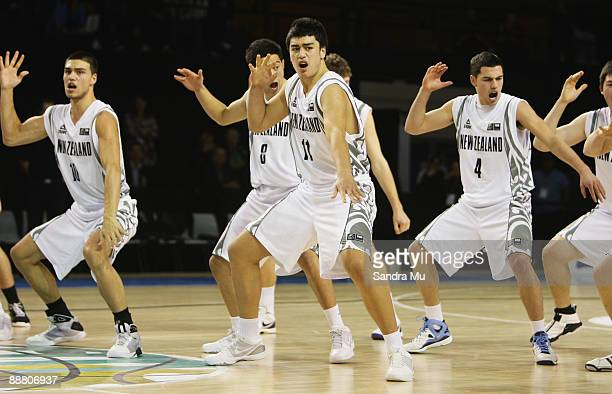 The Junior Tall Blacks perform the Haka before the FIBA Under 19 World Championship match between New Zealand and Croatia at the North Shore Events...