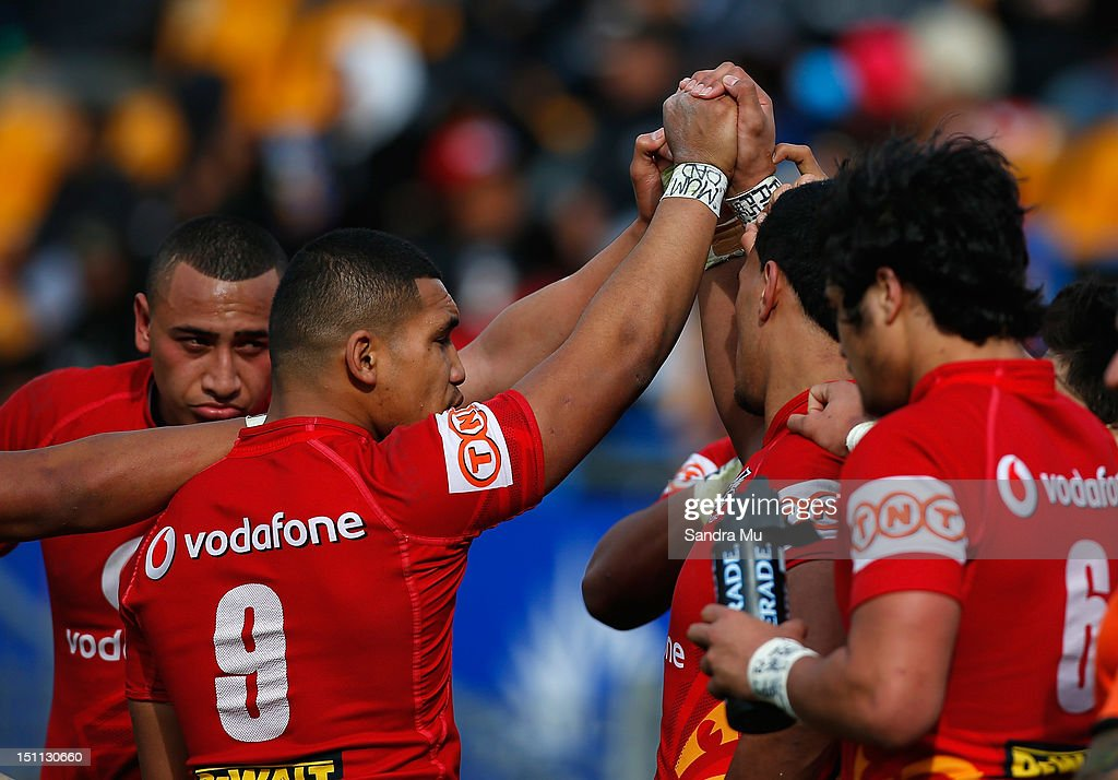 The Junior Warriors unite together during the Toyota Cup round 26 match between the New Zealand Warriors and the Canberra Raiders at Mt Smart Stadium on September 2, 2012 in Auckland, New Zealand.