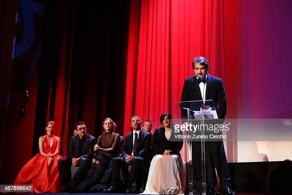 The Jury and Director Lorenzo Vigas on stage with the Golden Lion Award for Best Film for 'From Afar' at the closing ceremony during the 72nd Venice...