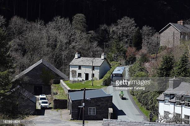 The Jury arrive by coach to visit the white cottage named Mount Pleasant the former home of defendant Mark Bridger in Ceinws Mid Wales who is on...