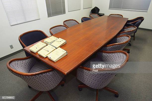 The jury deliberation room is seen on the opening day of Michael Jackson's child molestation trial at Santa Barbara County Superior Court on February...