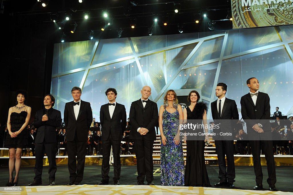 Maggie Cheung, Gael Garcia Bernal, Benoit Jacquot, Riccardo Scamarcio, John Malkovich, Yousra, Irene Jacob, Dominic Cooper and Faouzi Bensaidi attend the Opening Ceremony of the Marrakech 10th Film Festival.