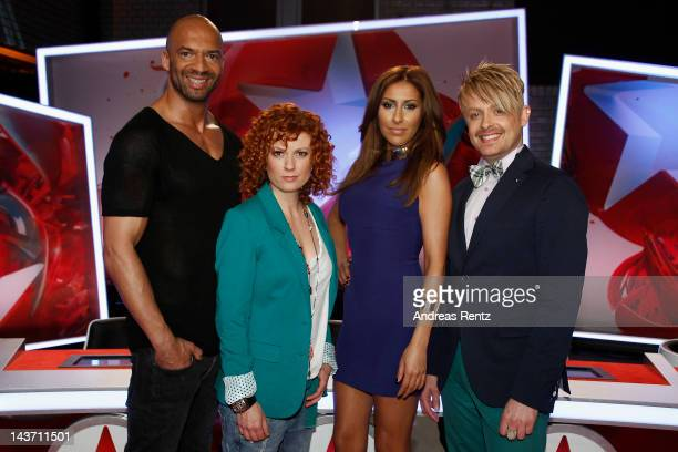 The jury members Detlef D Soost Lucy Diakovska Senna Guemmour and Ross Antony pose for a portrait during the 'POPSTARS 2012' jury photocall on May 3...