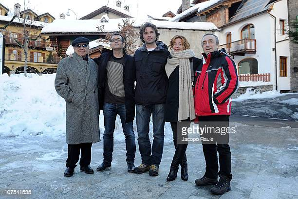 the jury Tito Topin Abel Sala Corbi Giudo Caprino Carlotta Natoli and Silvio Orlando attend Courmayeur Noir Festival Day 6 on December 12 2010 in...