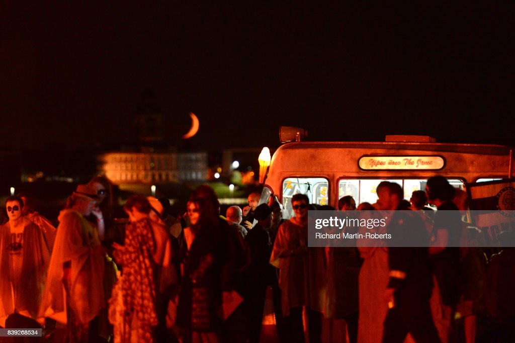 The Justified Ancients of Mu Mu's Ice Cream Van is parked as a Funeral Pyre burns on The Toxteth Day of The Dead as The Justified Ancients of Mu Mu Present 'Welcome To The Dark Ages' on August 25, 2017 in Liverpool, England.