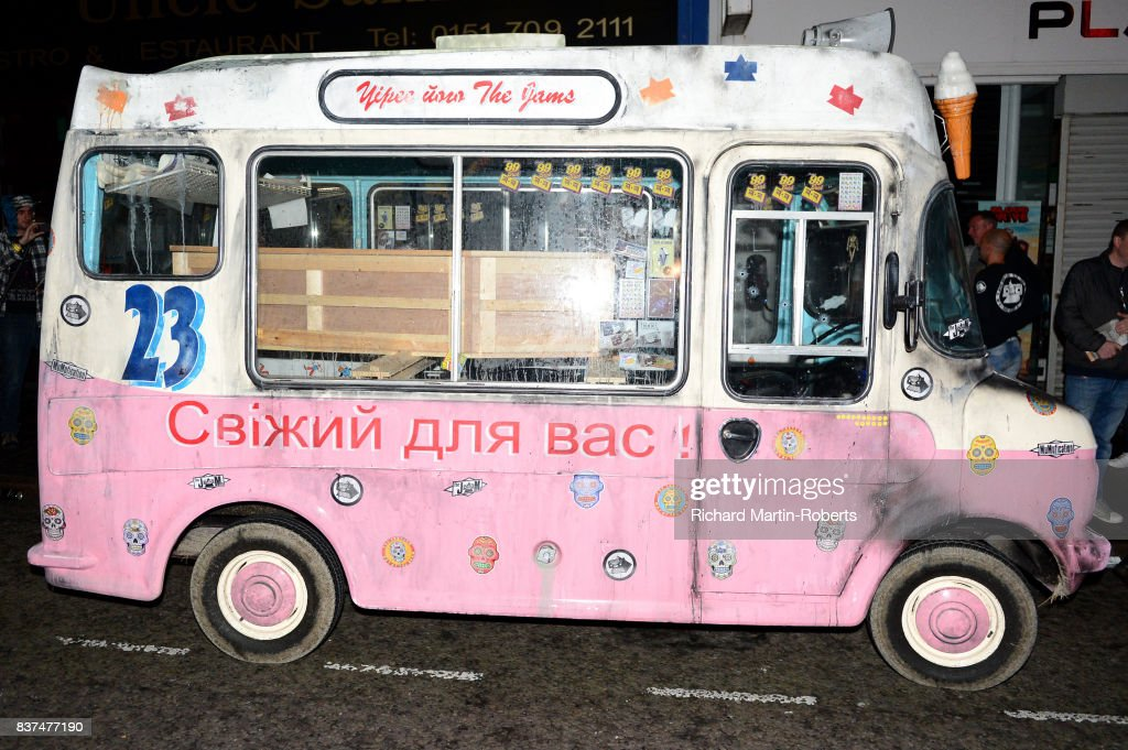 The Justified Ancients of Mu Mu's Ice Cream Van is parked outside the News from Nowhere Bookshop as The Justified Ancients of Mu Mu Present 'Welcome To The Dark Ages' on August 23, 2017 in Liverpool, England.