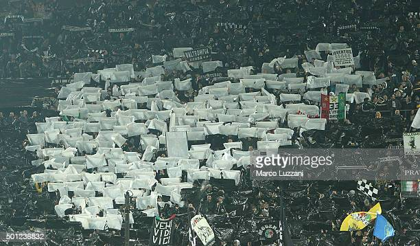 The Juventus FC fans show their support before the Serie A match betweeen Juventus FC and ACF Fiorentina at Juventus Arena on December 13 2015 in...