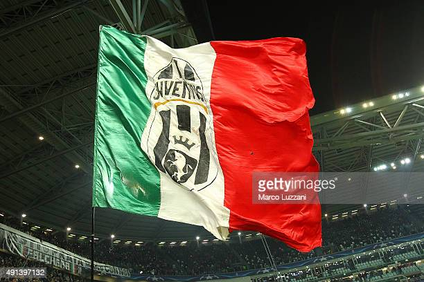 The Juventus FC fans show their support before the UEFA Champions League group E match between Juventus and Sevilla FC at Juventus Arena on September...